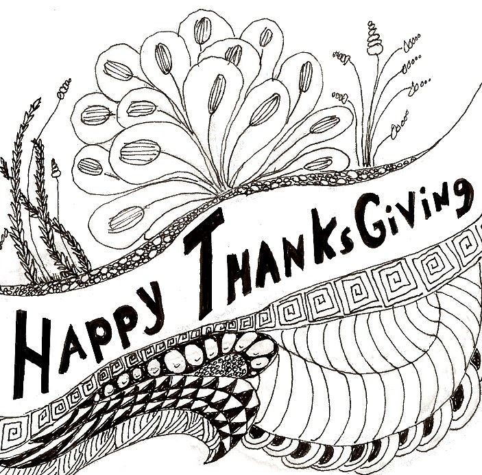 Adult coloring page thanksgiving Happy Thangsgiving 1