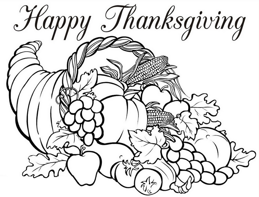 Adult Coloring Page Thanksgiving Horn Of Plenty 5