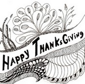 Coloriage adulte Joyeux Thangsgiving!