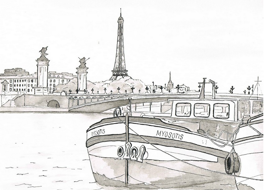 Art therapy coloring page paris barge on the seine 2 - Album coloriage adulte ...