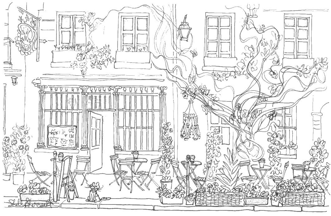Coloriage anti stress paris terrasse de caf 9 Coloring book cafe