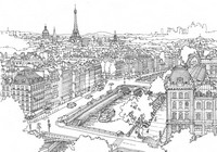 Adult coloring page Seine and Eiffel Tower