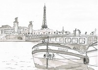 Art Therapy coloring page Barge on the Seine