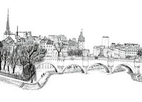 Art Therapy coloring page The Pont-Neuf bridge