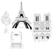 Art Therapy coloring page Eiffel tower and Our Lady of Paris