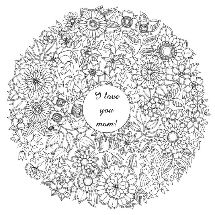 Adult Coloring Page Mothers Day Mothers Day Flowers 1