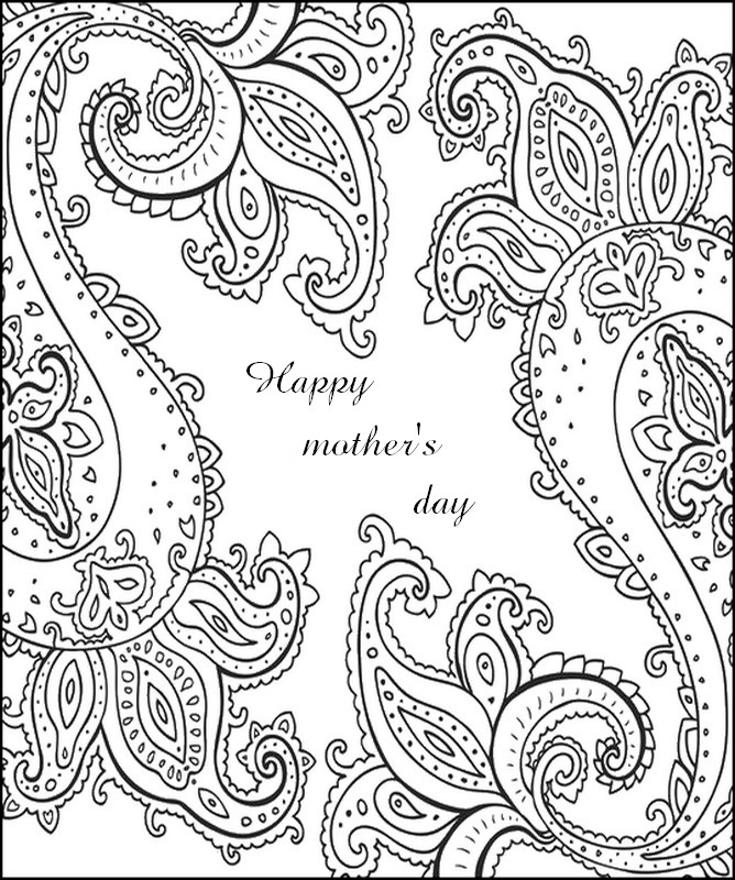 adult coloring page happy mothers day card - Coloring Pages Mothers Day