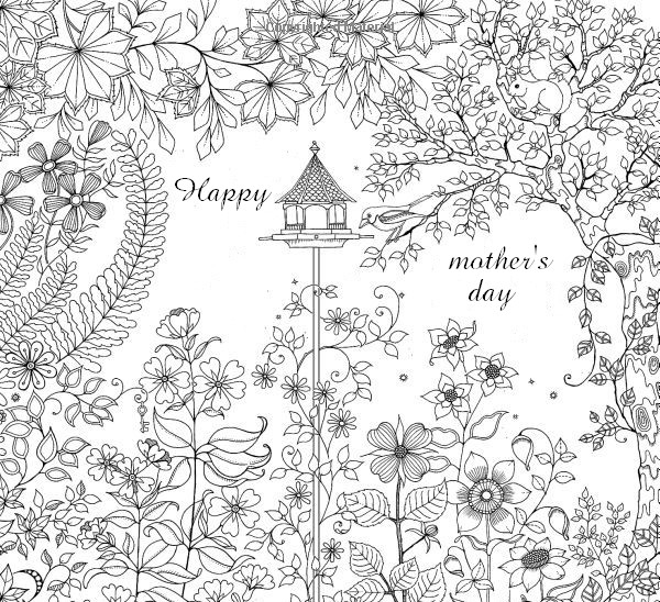 Adult Coloring Page Mothers Day Mothers Day Garden 5