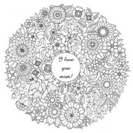 Adult coloring page Mother's day: flowers