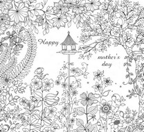 Adult coloring page Mother's day: garden
