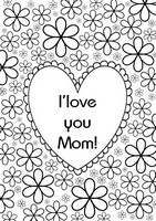 Adult coloring page Heart - I love you mom