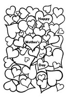 Adult coloring page Mother's day: hearts