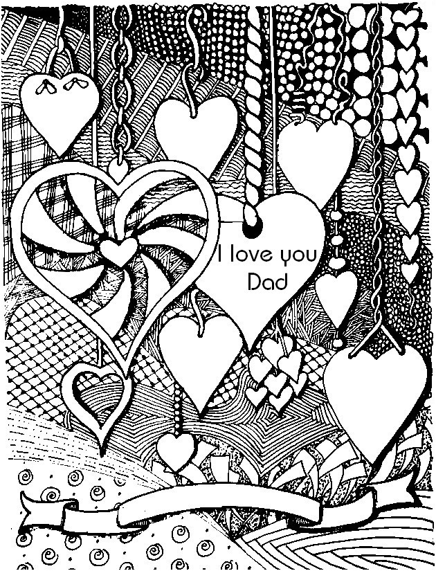 Adult coloring page Father\'s day : I love you Dad 7
