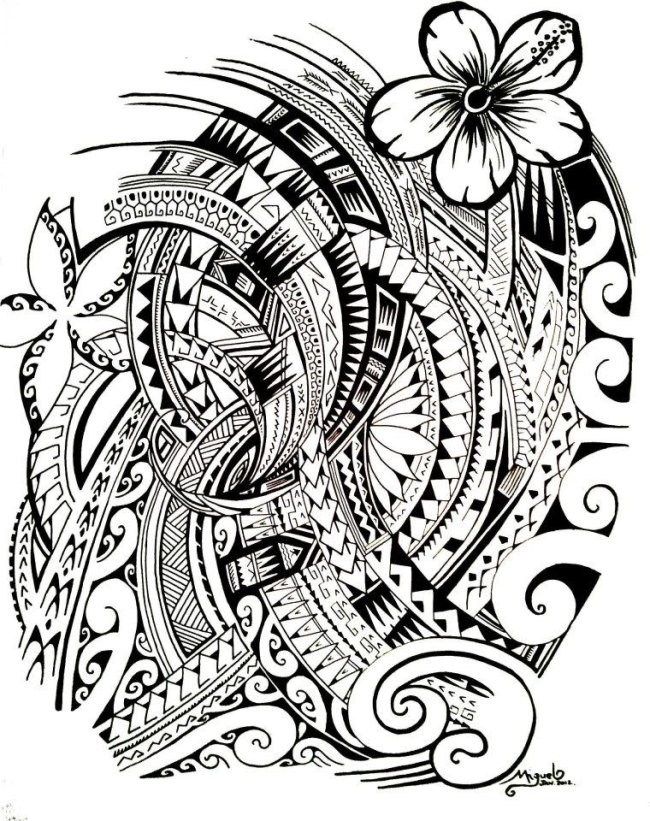 Adult Coloring Tattoos Polynesian Tattoo
