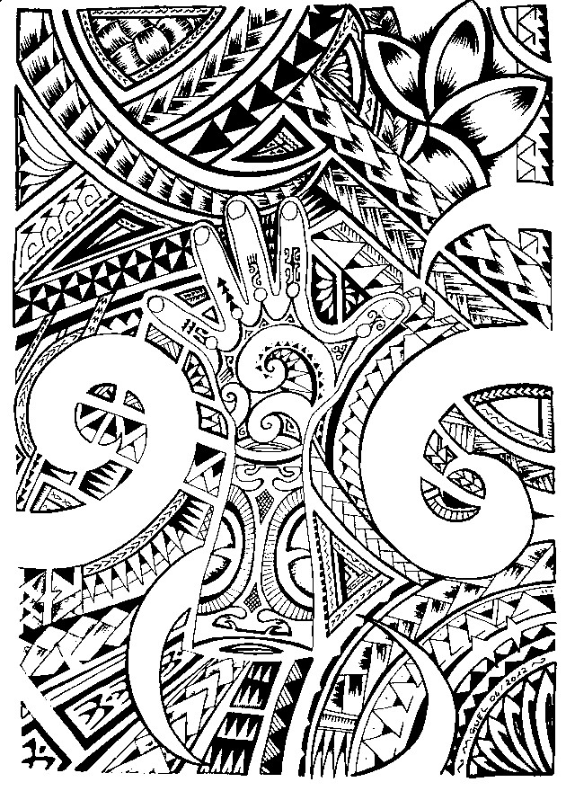 Art therapy coloring page tattoos maori tattoo 6 - Coloriage de tatouage ...