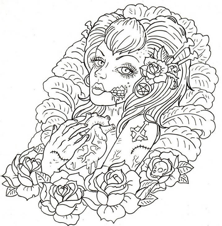 Adult Coloring Page Tattoos Macabre Tattoo 7 Coloring Pages Tattoos