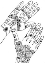 Art Therapy coloring page Tattoo: hands