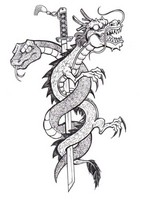 Art Therapy coloring page Tattoo: dragon