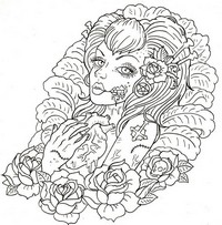 Art Therapy coloring page Macabre tattoo