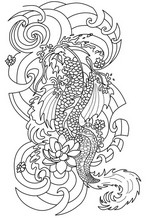 Art Therapy coloring page Japanese tattoo