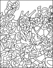 Coloriage adulte Jean Dubuffet : L'homme assis