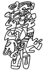 Coloriage anti-stress Jean Dubuffet : Personnage