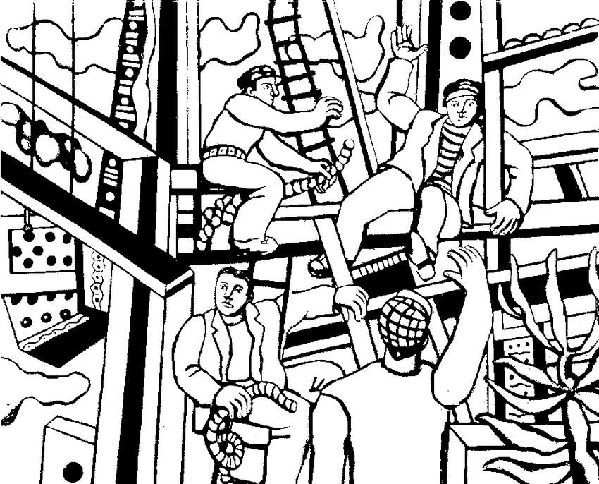 Coloriage Adulte Cirque.Coloriage Anti Stress Fernand Leger Les Constructeurs 3