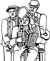 Art Therapy coloring page Three musicians