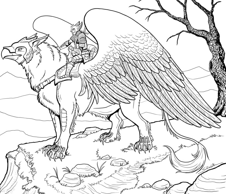 Coloriage anti stress animaux fantastiques griffon 4 for Griffon coloring page