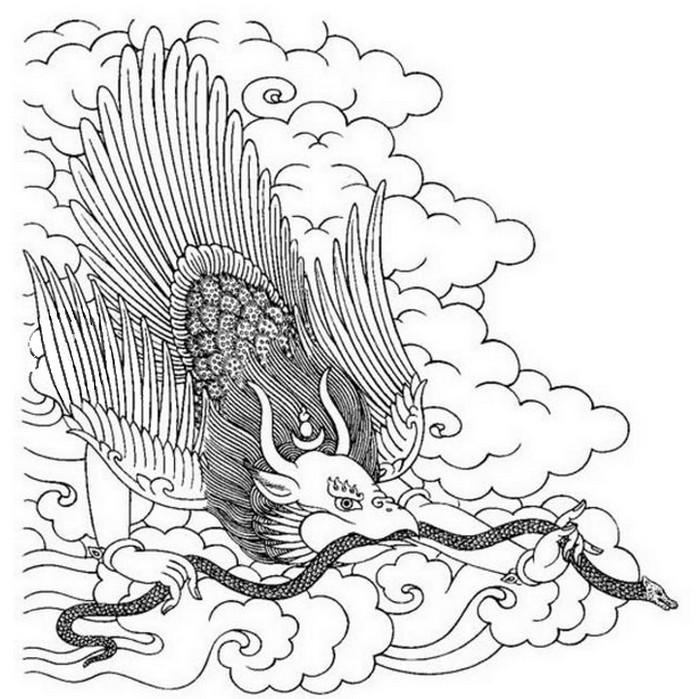 Dibujo Para Colorear Relajante Animales Fantasticos Garuda 6