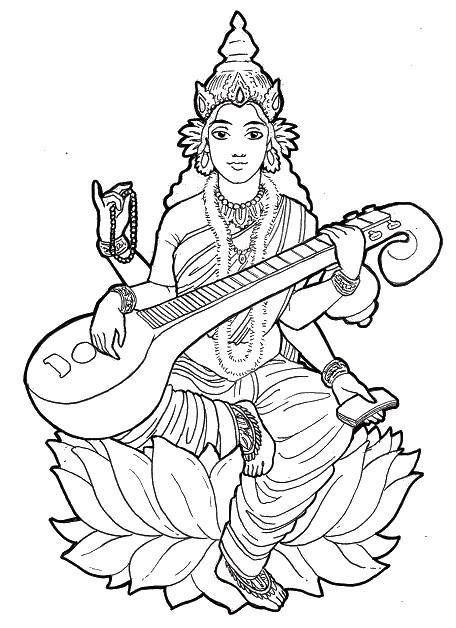 Ausmalen Erwachsene indien : Saraswati 11