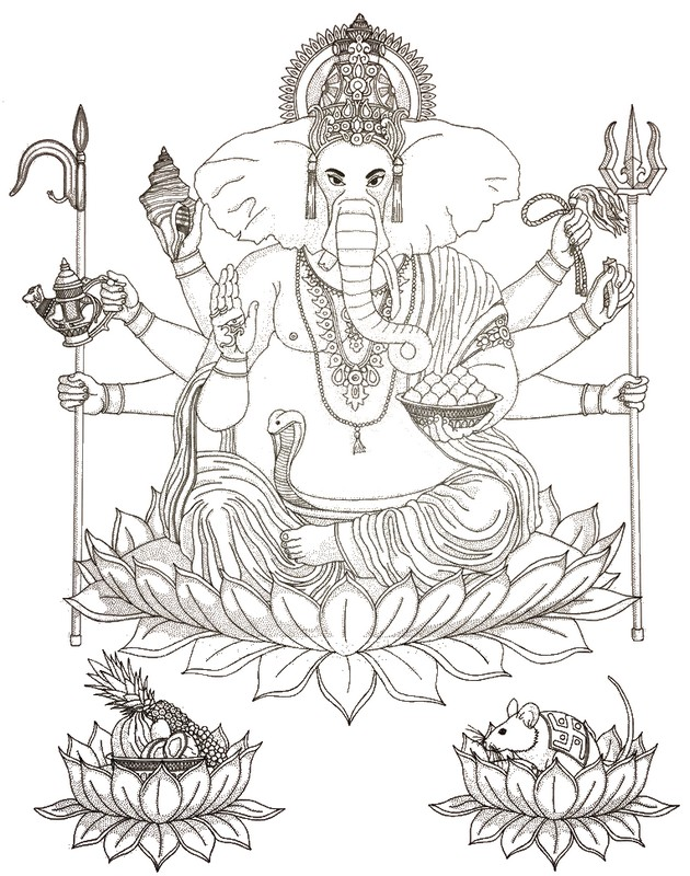 Dibujos para colorear para adultos india : Dios hindú en cabeza de ...