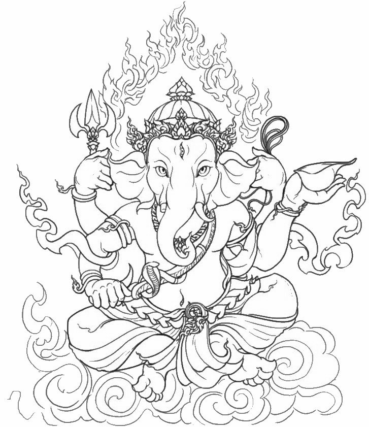 india coloring pages for adults | Art Therapy coloring page India : Ganesha 8
