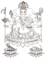 Art Therapy coloring page Hindu God Ganesha