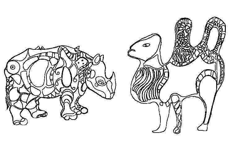 Ausmalen Als Anti Stress Niki De Saint Phalle Nashorn Und Kamel 5