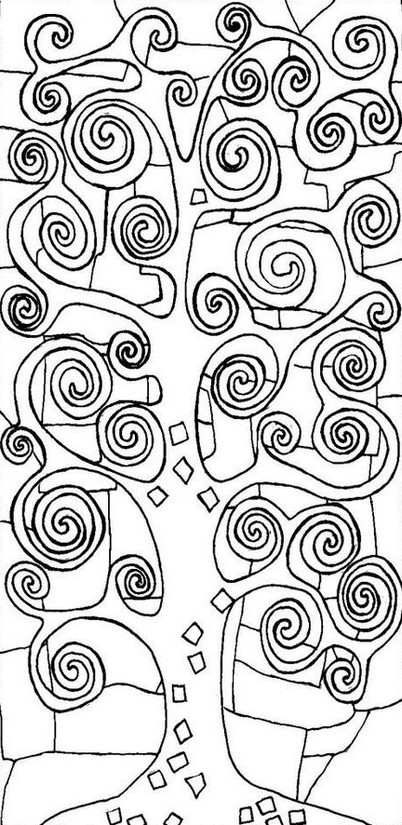 Coloriage Arbre Anti Stress.Coloriage Anti Stress Gustav Klimt Arbre De Vie 2